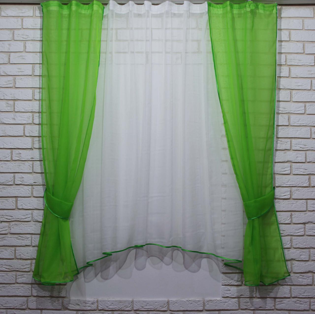 Комплект на кухню, тюль и шторки №51. Цвет зелёный с белым