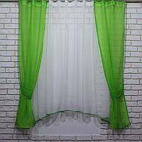 Комплект на кухню, тюль и шторки №51. Цвет зелёный с белым, фото 1