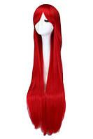 Длинный красный парик - 100см, прямые волосы, косплей, анимэ