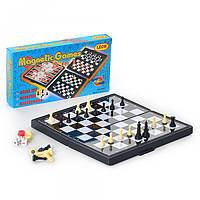 Шахматы 3831, на магнитах, 3 в 1 (шашки, шахматы, нарды), в кор-ке, 20, 5-11-3см