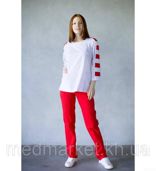 Костюм медицинский женский Герда 30022 (белый/красный), 30020 (белый/синий)