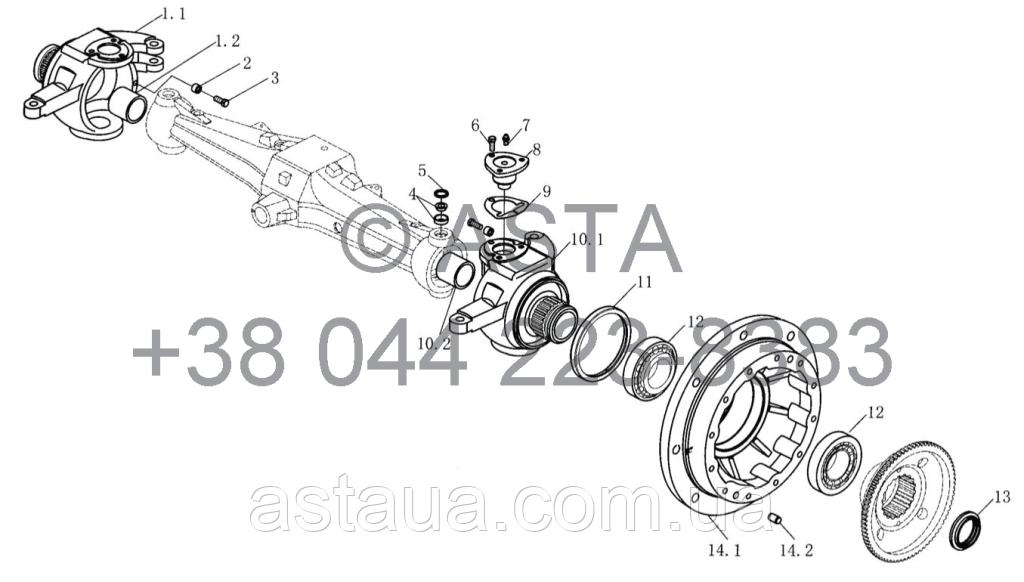 Поворотный кулак, обод колеса (II) на YTO-X1204