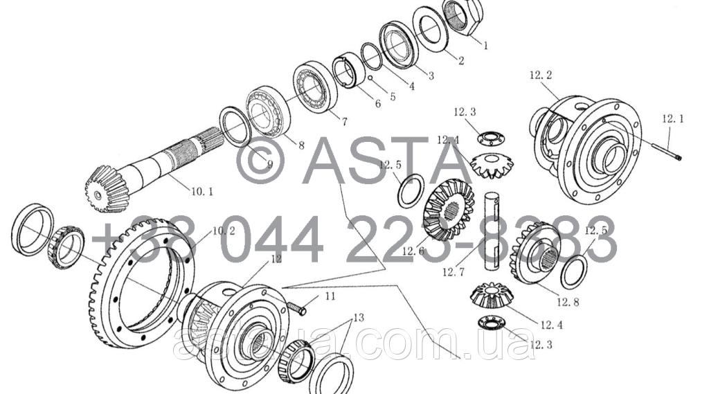 Карданний вал привода і планетарний редуктор передач (II) на YTO-X1204