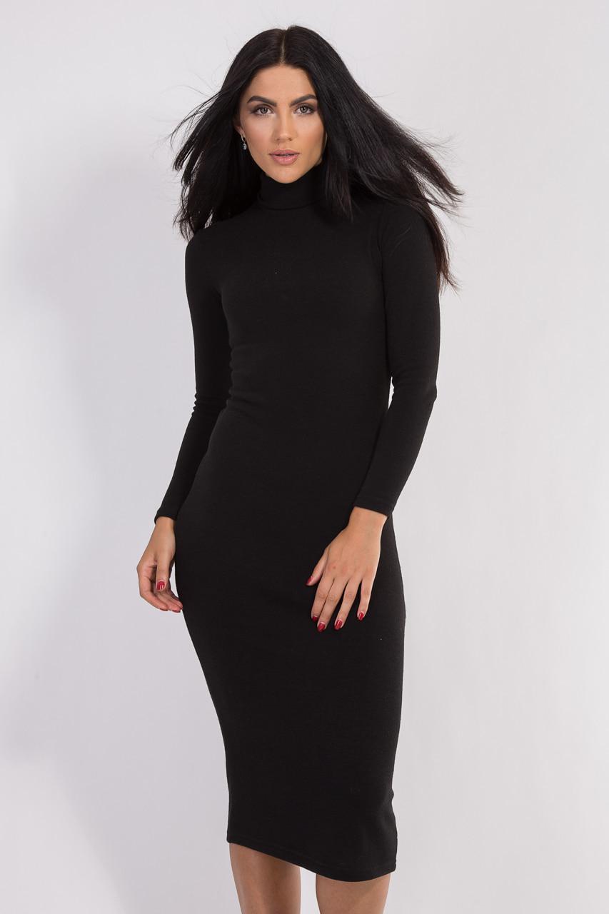 9c5852decdc4017 Женское повседневное платье с воротником-гольф черного цвета с длинным  рукавом. Модель 1487 -