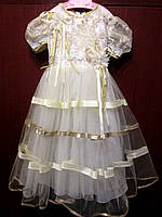 Детское платье белое с золотой окантовкой на прокат на утренник