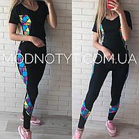Женский черный костюм для фитнеса с футболкой и лосинами Леди фит