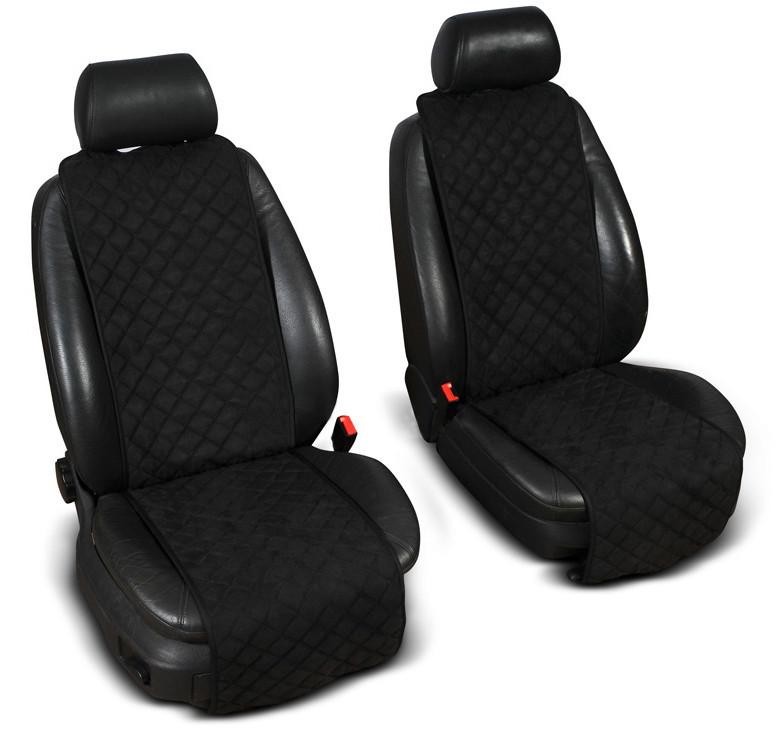 """Накидки на сиденье """"Эко-замша"""" узкие (1+1) без лого, цвет черный"""