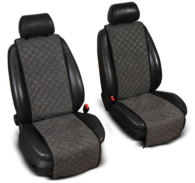 """Накидки на сиденье """"Эко-замша"""" узкие (1+1) без лого, цвет темно-серый"""