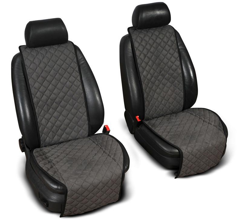 "Накидки на сиденье ""Эко-замша"" широкие (1+1) без лого, цвет темно-серый"