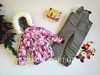 Комбинезон для девочки Снежинки 1-4 года сиреневый, фото 1