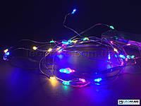 Светодиодная гирлянда-нить Роса на батарейках 3м IP20 мультицвет (розовый, зеленый, синий, теплый белый)