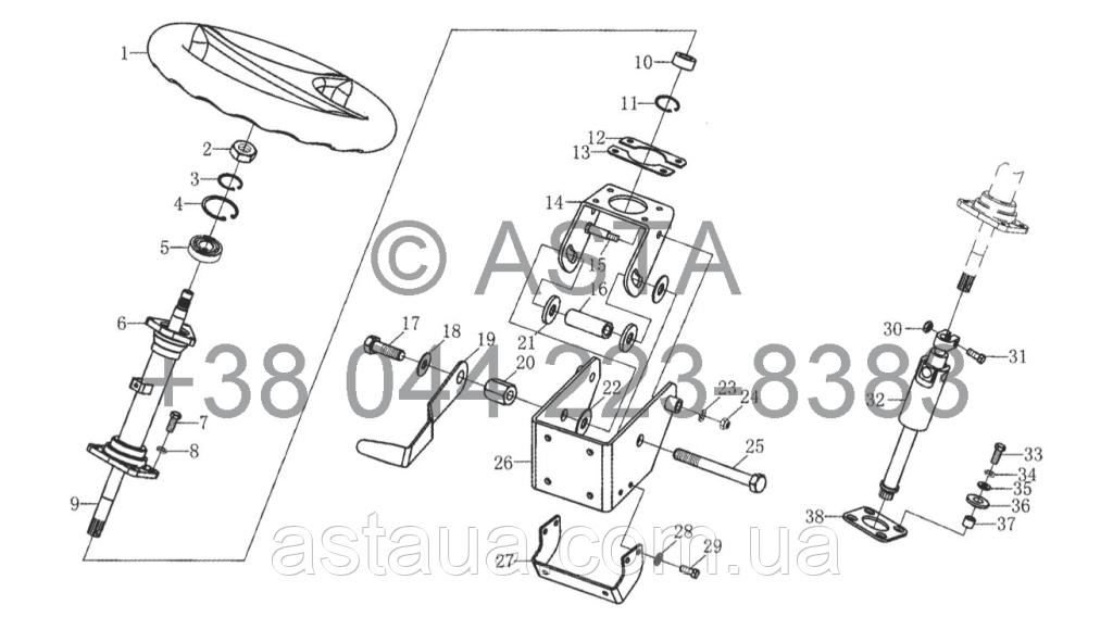Рулевой механизм в сборе III (опция) на YTO X1204, фото 1