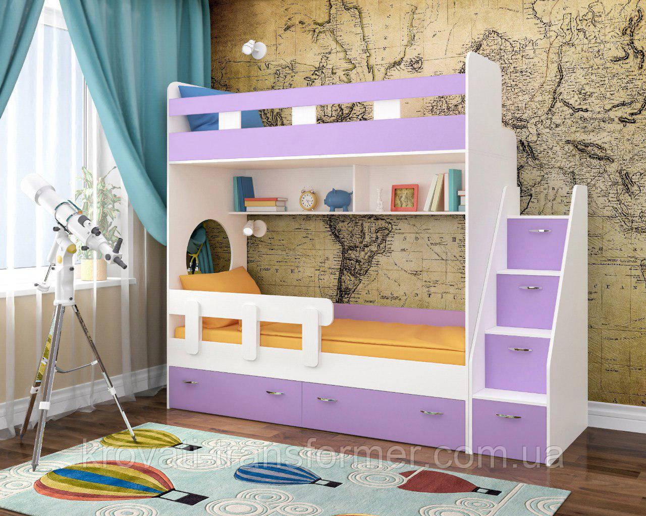 """Двухъярусная кровать """" Модерн люкс с боковой лестницей. Премиум """" лаванда+белый"""