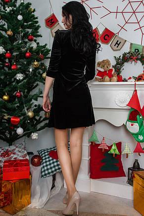 Вечернее платье из велюра черного цвета, фото 2