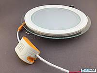 Встраиваемый светодиодный светильник BIOM 12Вт круг (стекло), фото 1
