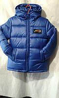 Копия Куртка зимняя для мальчика на 7-11 с капюшоном синего цвета на искусственной овчине оптом