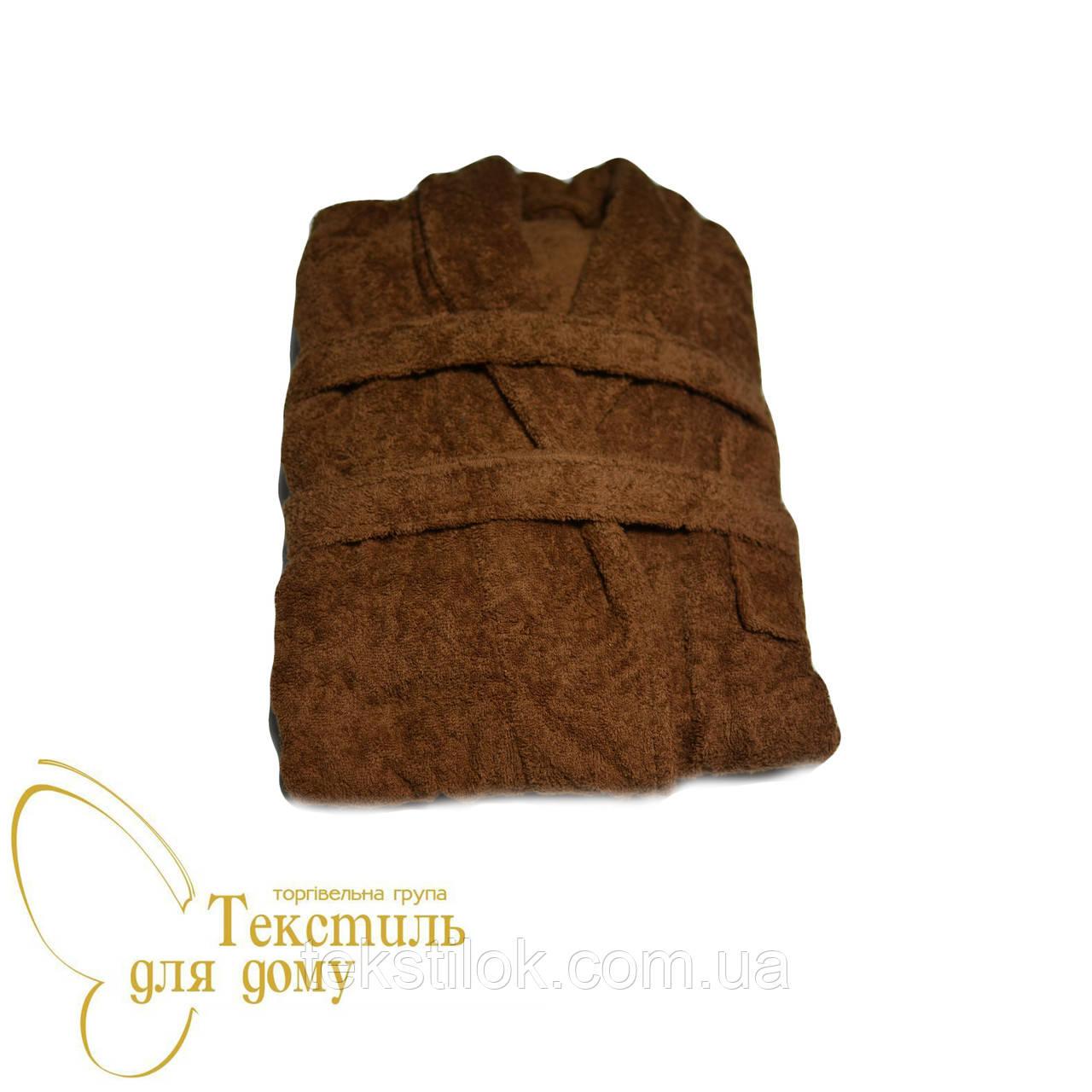 Халат коричневый, ворот шаль