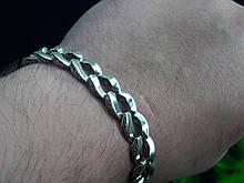 Срібний браслет Панцир з візерунком