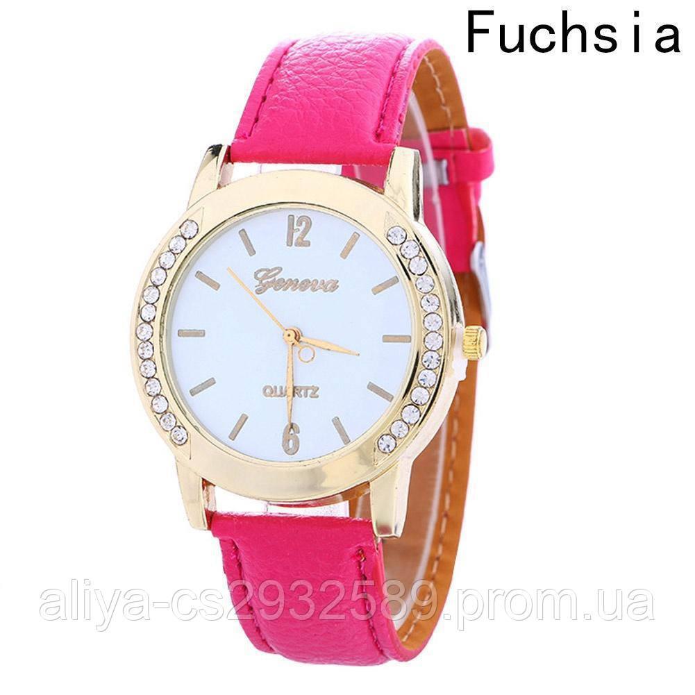Часы женские Женева цвета фуксии