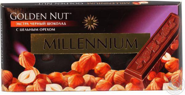 """Шоколад Черный """"Millennium GOLD"""" с цельный Орех 100г, фото 2"""