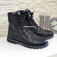 Ботинки мужские кожаные на шнуровке и молнии, зима/осень, фото 1