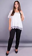 Квитка. Гипюровая блуза больших размеров. Белый., фото 1
