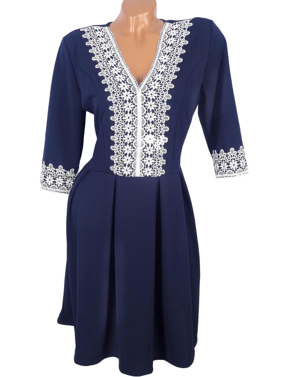 Нарядное платье с кружевом (в расцветках)