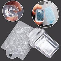 Штамп для стемпинга силиконовый прозрачный+ скребок, фото 1