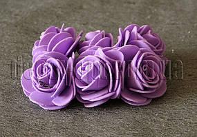 Букет фиолетовых розочек из латекса 4 см