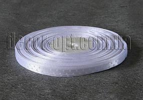 Лента атласная белая с белым горохом 0,6 см 50м 2ряда