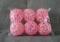Кулька рожевий з ротанга 10 см