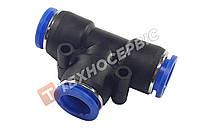 Соединитель тормозной трубки Т-образный пластиковый (аварийный фитинг, спасатель,SPE4) Ø4мм-Ø4мм-Ø4мм