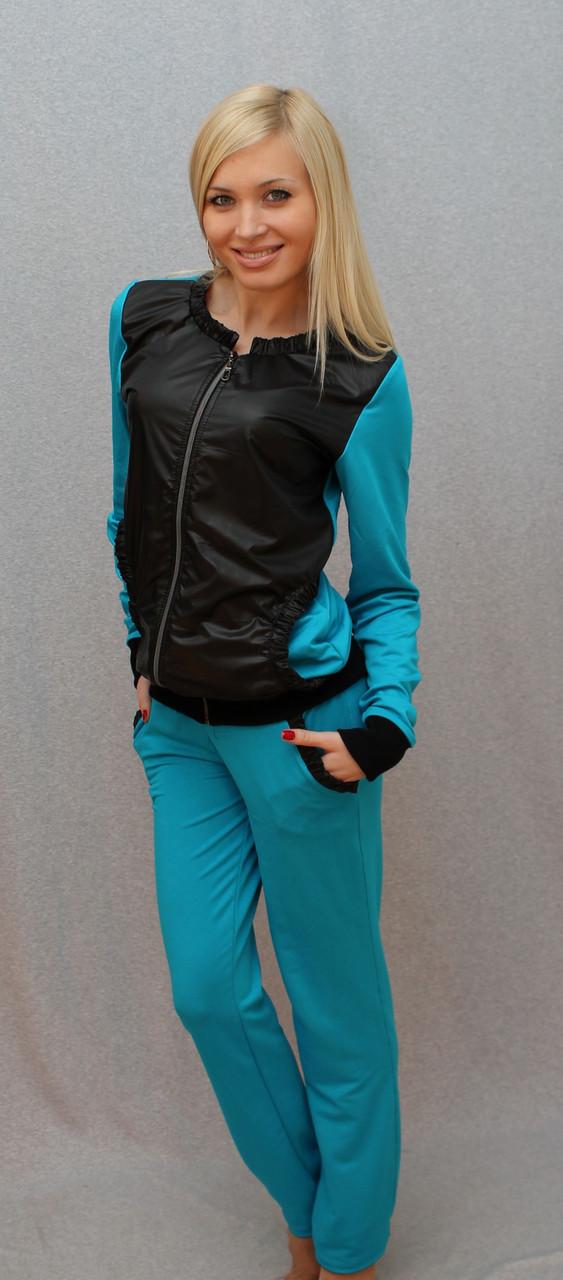 Женский костюм с плащевки синий