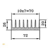 Алюминиевый радиаторный профиль 72х26мм, БПО-1907