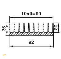 Алюминиевый радиаторный профиль БПО-1906, 92х26мм
