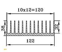 Алюминиевый радиаторный профиль БПО-1909, 122х38мм