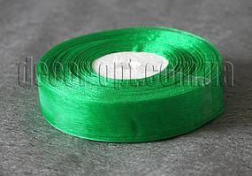 Лента органза зеленая 2 см 50ярд 19