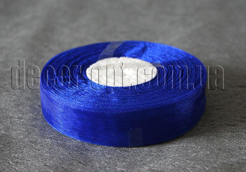 Лента органза синяя 2 см 50ярд 40