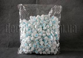 Головы бело-голубых роз d 2,5-3,5см из латекса 500 шт.