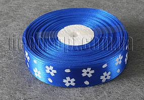 Лента атласная синяя с большими цветками 2,5 см 50 м