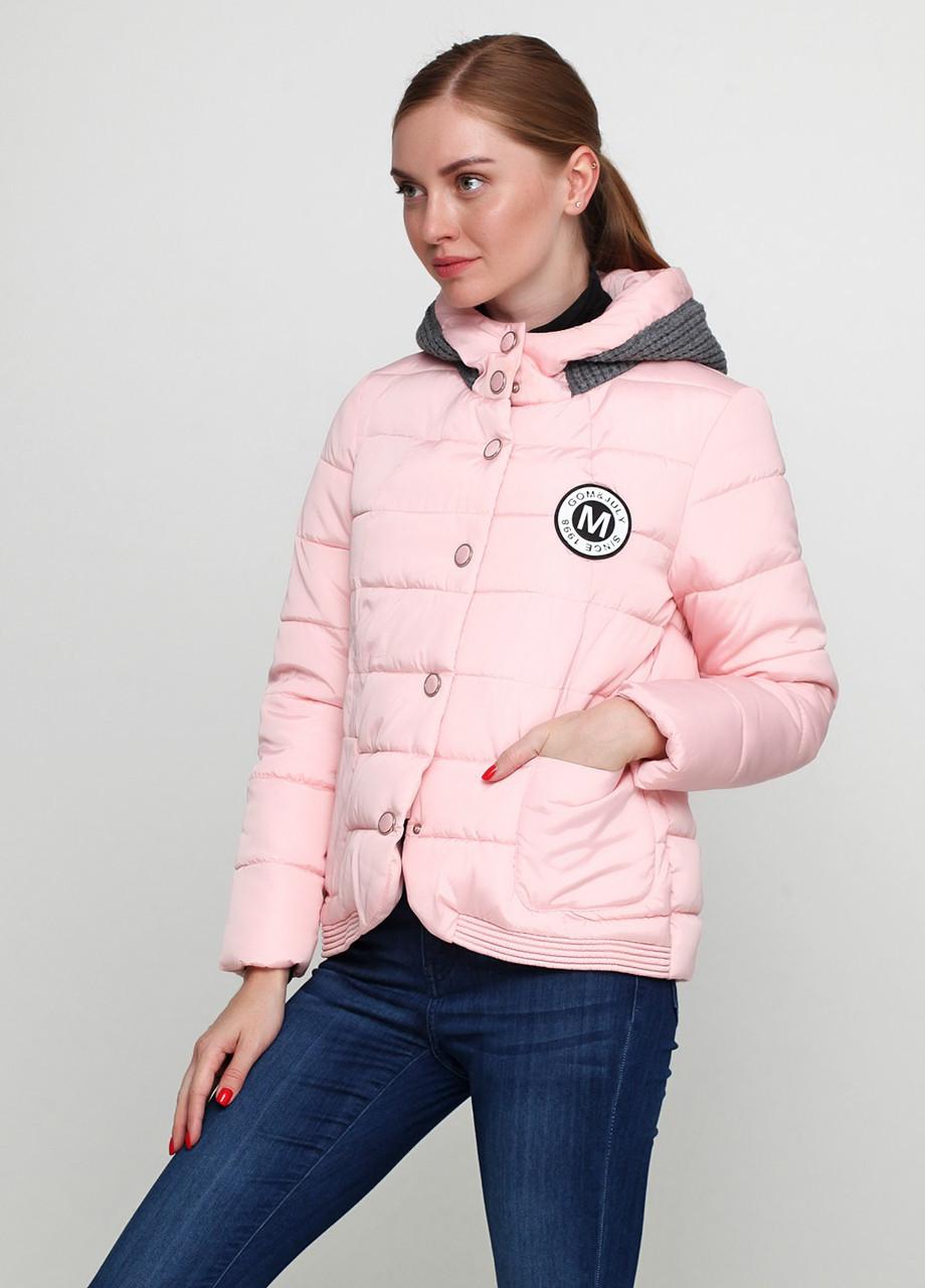28327f59c22 Короткая женская куртка с капюшоном пудрового цвета 42 - Evellon - интернет  магазин женской одежды (