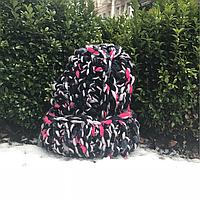 Женская шапка крупной вязки черно фиолетовая с отворотом