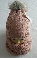 Шапка вязаная с бубоном + хомут для девочки зима на полном флисе, фото 1
