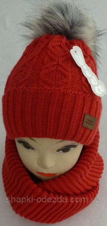 Шапка вязаная с бубоном + шарф для девочки зима на полном флисе