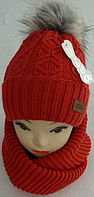 Шапка вязаная с бубоном + шарф для девочки зима на полном флисе, фото 1