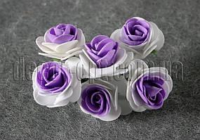 Букет бело-фиолетовых розочек из латекса 4 см