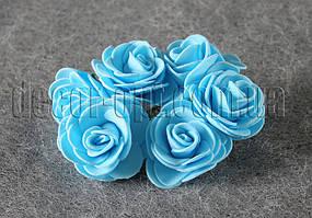 Букет голубых розочек из латекса 4 см