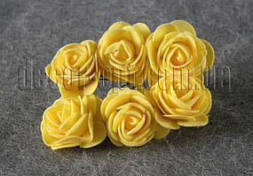 Букет желтых розочек из латекса 4 см