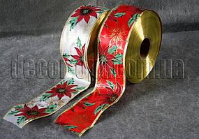 Лента металлизированная с присыпкой с цветком 6,3см/50ярд