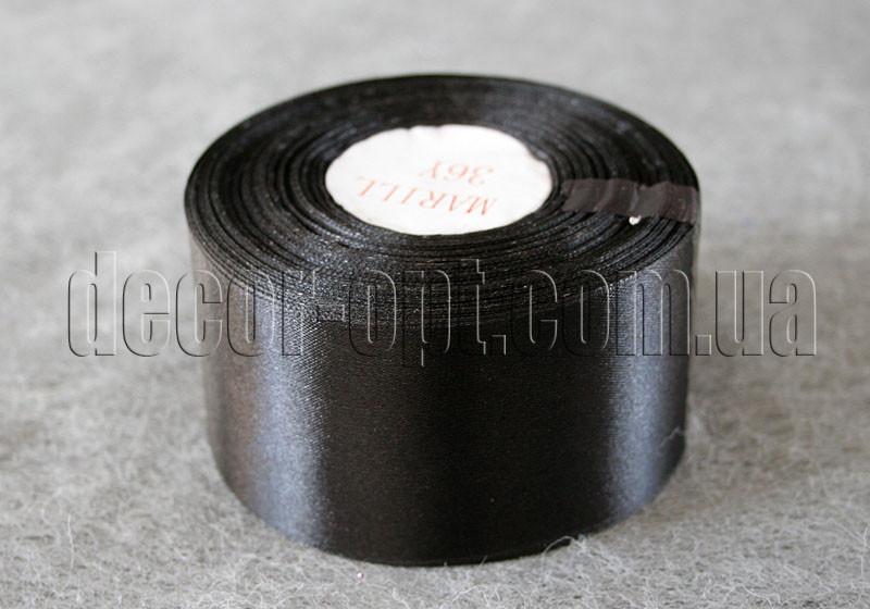 Лента атласная черная 5,00 см 36ярд 39
